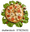Tasty pizza with vegetables isolated on white background - stock photo