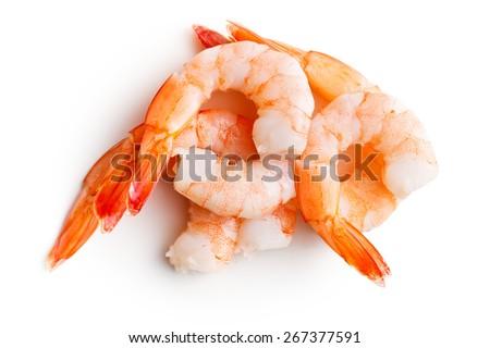 tasty prawns on white background - stock photo