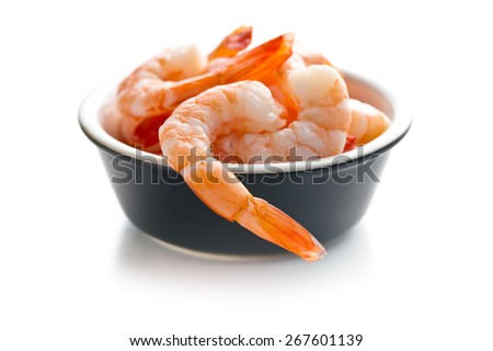 tasty prawns on white background - stock photo