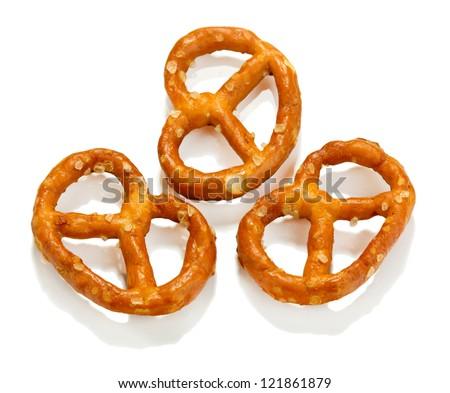 Tasty pretzels isolated on white - stock photo