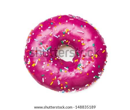 tasty purple donut, isolated on white - stock photo