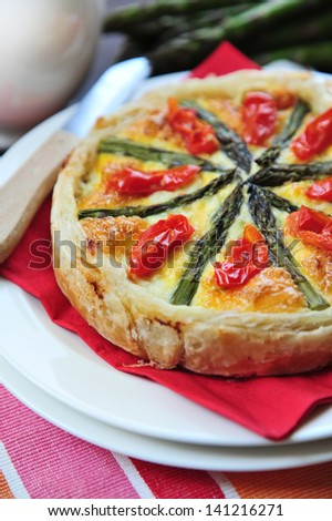 tasty quiche with asparagus