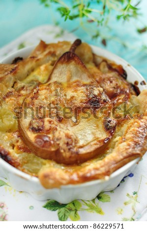 tasty quiche with pear and cheese