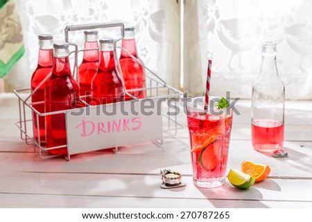 Tasty red summer drink in bottle with citrus fruit