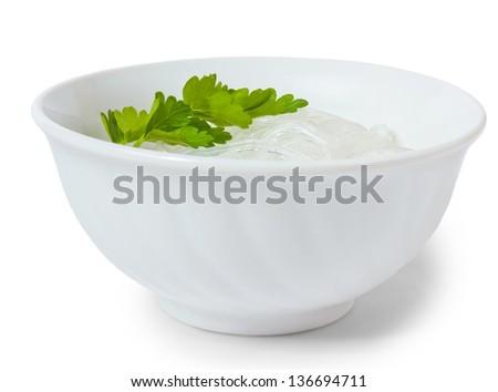 tasty rice extract long macaroni isolated on white background - stock photo