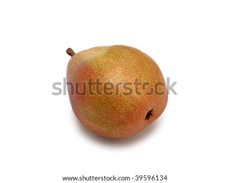 Tasty ripe green pear 'Anjou', isolated on a white background - stock photo