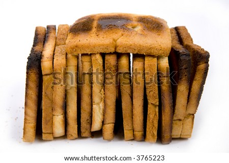 Tasty roasted bread isolated on white