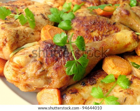 Tasty roasted chicken - stock photo