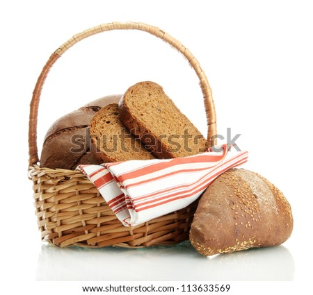 tasty rye bread in basket, isolated on white - stock photo