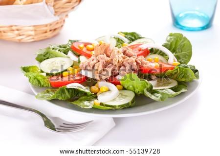 tasty salad tuna tomato corn and onion - stock photo