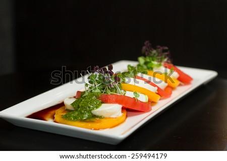 Tasty salad with tomatos and mozzarella - stock photo