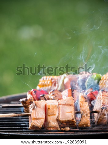 Tasty salmon skewers on the grill, close-up. - stock photo