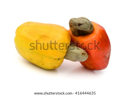 Tasty salted cashew nuts on a white background - stock photo