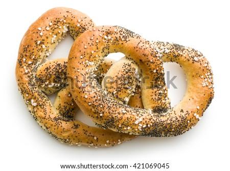 tasty salted pretzel isolated on white background - stock photo