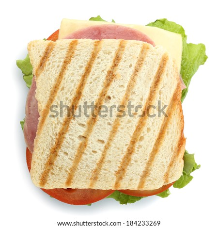 Tasty sandwich with ham, isolated on white - stock photo