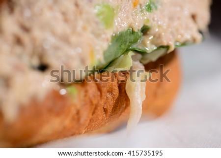 tasty sandwiches of tuna - stock photo