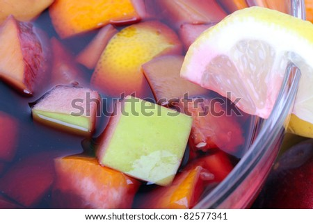 Tasty sangria in glass bowl, closeup - stock photo