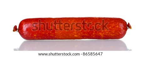 Tasty sausage isolated on white - stock photo