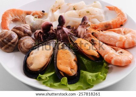 Tasty seafood on plate close-up - stock photo