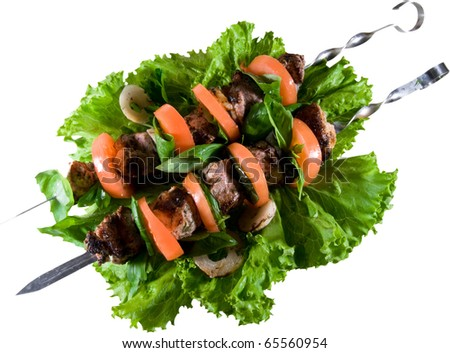 tasty shish kebab meat with tomato - stock photo