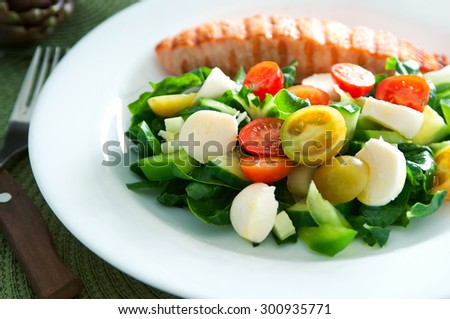 Tasty slice of fried salmon served with mix salad of kale leaves cherry tomatoes bocconcini cut in halves cucumber, served on white plate with cutlery. Healthy food. Selective focus on a salad - stock photo