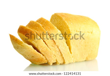 tasty sliced bread, isolated on white - stock photo