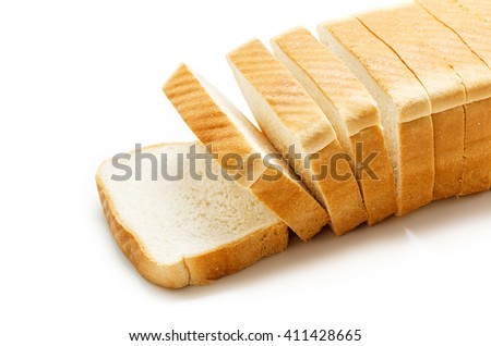 Tasty sliced bread isolated on white - stock photo