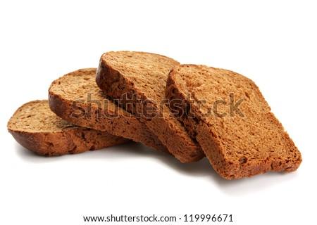 tasty sliced rye bread, isolated on white - stock photo