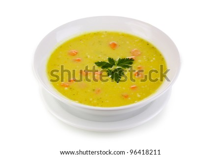 Tasty soup isolated on white - stock photo
