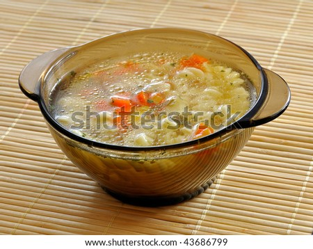 Tasty soup with vegetables and pasta