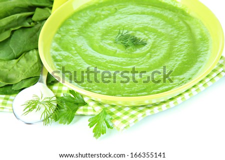 Tasty spinach soup, isolated on white - stock photo