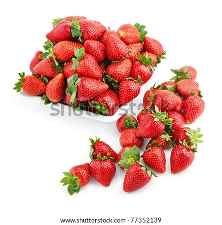 tasty strawberry in white plate isolated on white. - stock photo