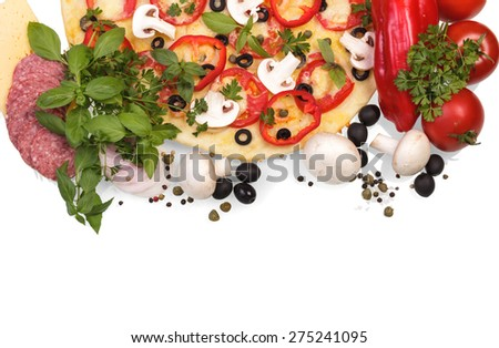 Tasty Supreme Pizza with vegetables isolated on white background - stock photo