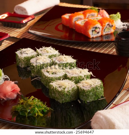 Tasty sushi in japanese restaraunt - stock photo