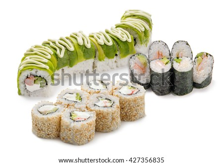 Tasty sushi set for friends or for small company. Ideal variant of meal for evening party. Rolls with shrimp, crab and mayo. Delicacy from Japan. - stock photo