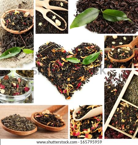 Tasty tea collage - stock photo