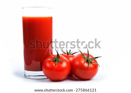 Tasty tomato juice and tomato's. - stock photo