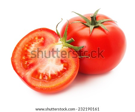 tasty tomatoes isolated on the white background - stock photo