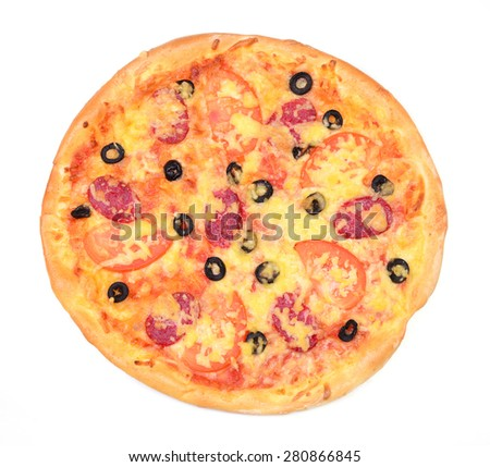 Tasty tomatoes pizza olives and mushrooms