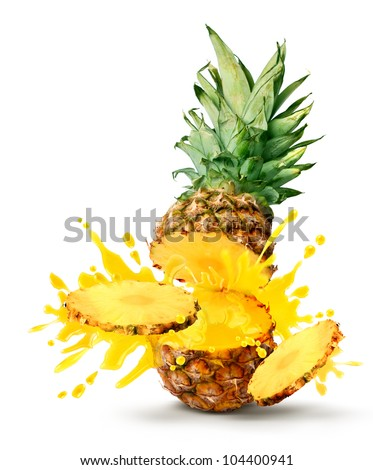 Tasty tropical pineapple slices juice burst - stock photo