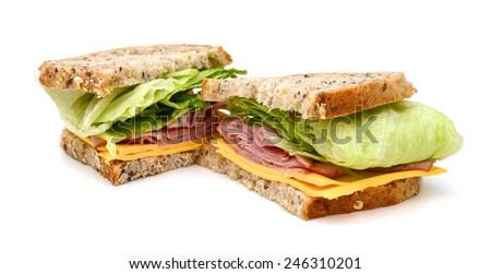 tasty turkey breast, cheese and lettuce sandwich - stock photo