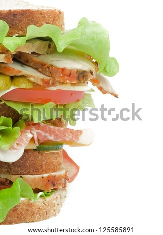 Tasty Turkey Meat Sandwich with  Cheese, Tomato, Bacon, Marinated  Gherkins and Lettuce on Whole Wheat Bread isolated on white background - stock photo