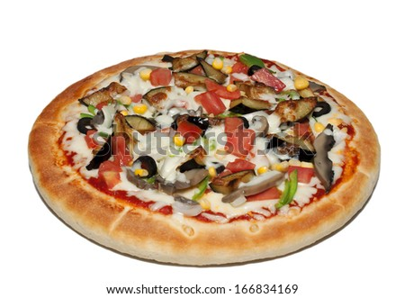 Tasty vegetable pizza, isolated