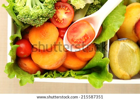 Tasty vegetarian food in plastic box, close up - stock photo