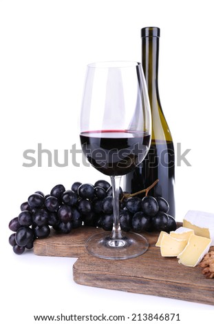Tasty wine, ripe grape and cheese, isolated on white