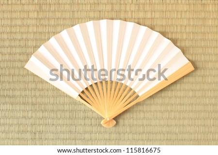 Tatami and Folding fan - stock photo