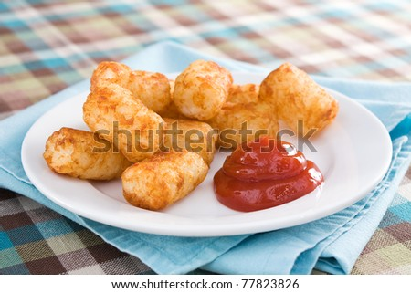 Tater Tots & Catsup - Deep-fried tater tots served with catsup. - stock photo