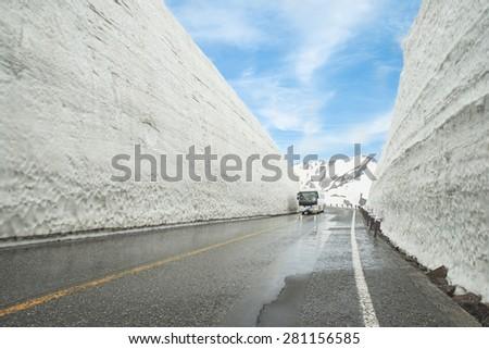 Tateyama Kurobe Alpine Route, Toyama Prefecture, Japan - stock photo