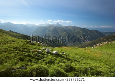 Tatra mountains in spring morning. - stock photo