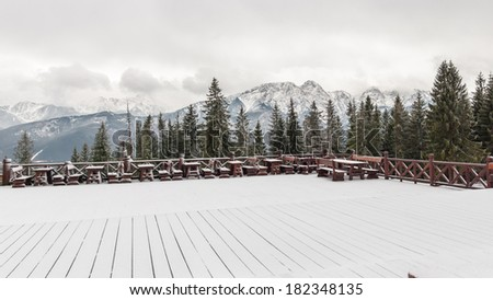 Tatra Mountains in winter. View from terrace on Gubalowka. - stock photo